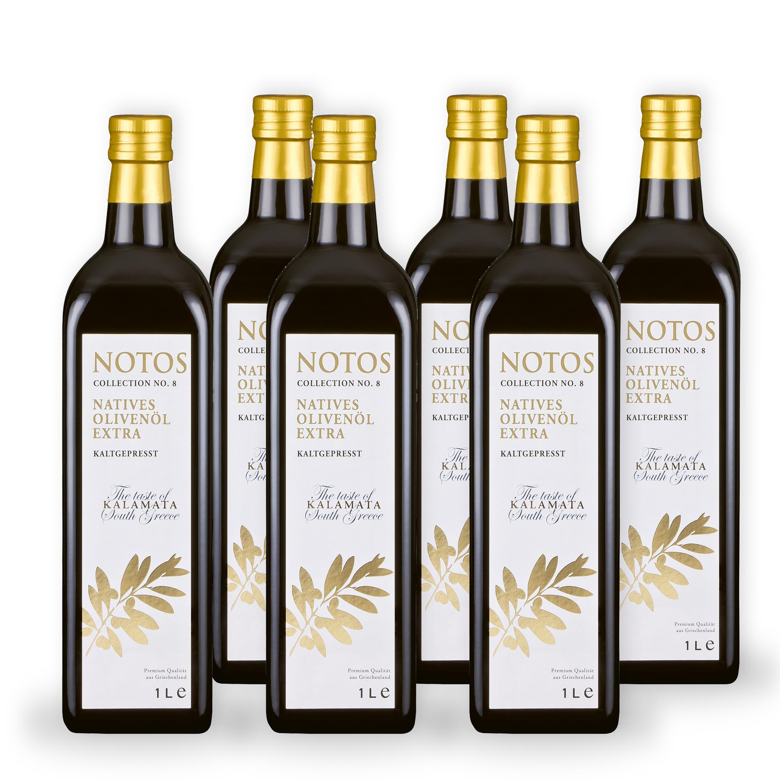 6 1-Liter Flaschen NOTOS Olivenöl No. 8